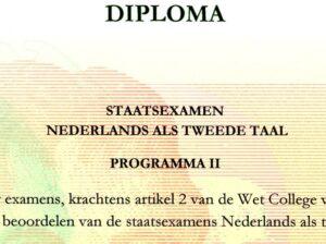 Diploma Staatsexamen Nederlands als Tweede Taal Programma II